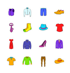 clothes icons set cartoon vector image