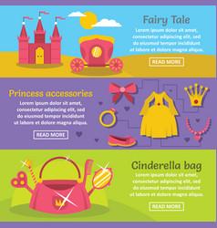 doll princess banner horizontal set flat style vector image