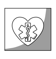 grayscale square frame shading with star of life vector image