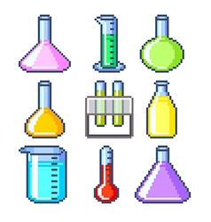 Pixel flasks and test tubes icons set vector image
