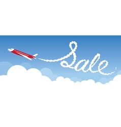 Plane with white trail smoke sale text vector