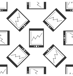 Tablet with business charts icon pattern vector image vector image