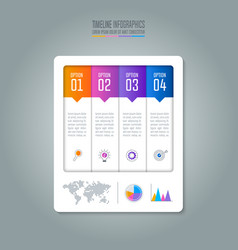timeline infographic business concept with 4 vector image vector image