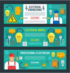 banners for electrical engineering vector image vector image