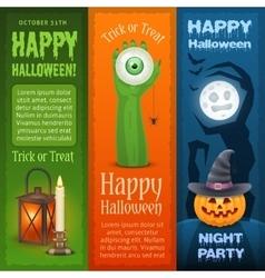 Happy Halloween three vertical banners vector image