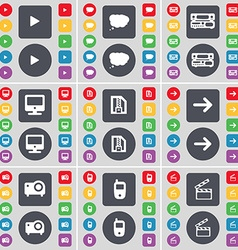 Media play Chat cloud Record-player Monitor ZIP vector image vector image