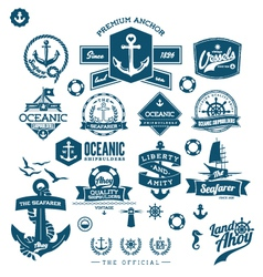 nautical badges and labels vector image vector image