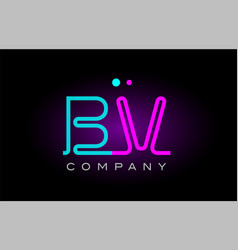 neon lights alphabet bv b v letter logo icon vector image