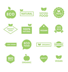 set of green labels and badges with leaves for vector image
