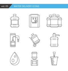 Set thin line water delivery icon isolated on vector image