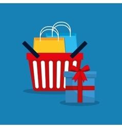 Shopping basket bag vector