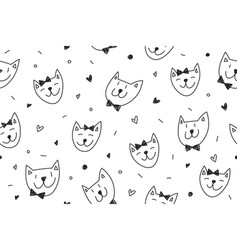 smile cats faces pattern vector image