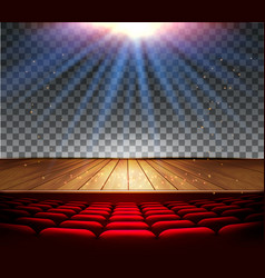 theater wooden stage with a spotlight on a vector image