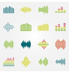 Bright music soundwave or equalizer icons set vector image vector image