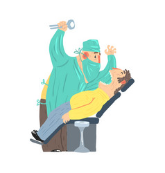 cartoon scary dentist character with male patient vector image vector image