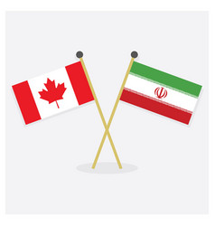 crossed canada and islamic republic of iran flags vector image