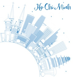 Outline Ho Chi Minh Skyline with Blue Buildings vector image vector image