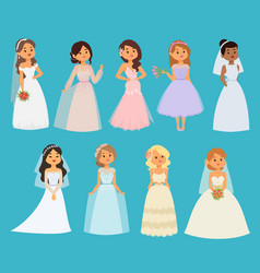 wedding brides girl characters white dress vector image