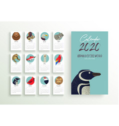 2020 year calendar planner template wild animal vector