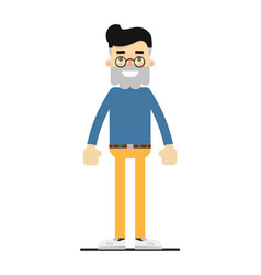 adult bearded hipster in shirt and pants vector image
