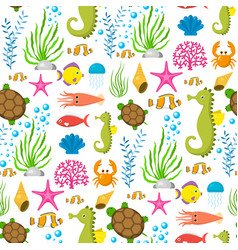 Aquatic funny sea animals underwater creatures vector