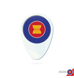 Asean flag location map pin icon on white vector