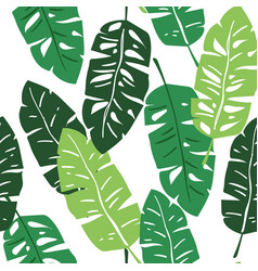 Banana leaves on white repeat pattern vector
