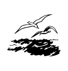 Birds over sea vector