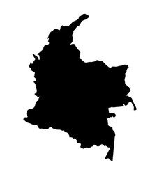 Black silhouette country borders map of colombia vector