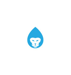 Blue drop water with head lion logo icon design vector