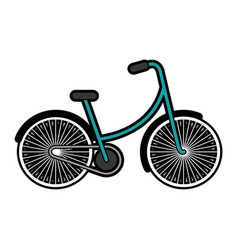 Blue vintage bicycle cartoon vector