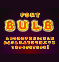Bulb font glowing letters retro alphabet with vector