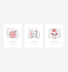 Business strategy - line design style icons set vector