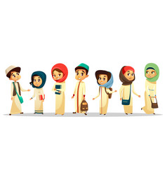 Cartoon arab muslim students in hijab set vector