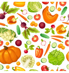 Cartoon fresh vegetables seamless pattern vector