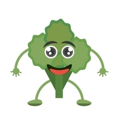 Cartoon green broccoli fun smile vector