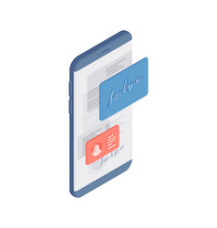 Cartoon mobile app with electronic signature on vector