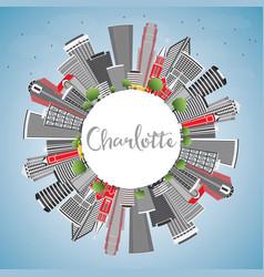 Charlotte skyline with gray buildings blue sky vector