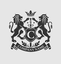Coat arms lion crest design vector