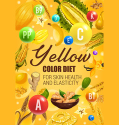 Color diet yellow fruits vegetables and cereals vector