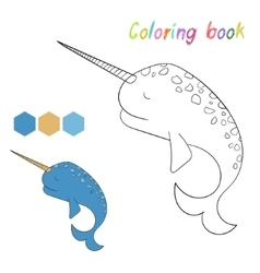 Coloring book narwhal kids layout for game vector image