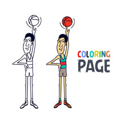 coloring page with basketball player cartoon vector image