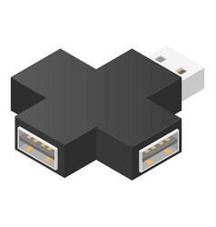 cross usb hub icon isometric style vector image