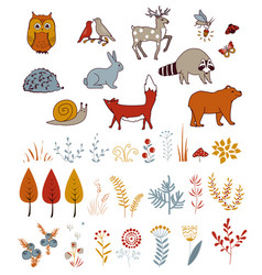 Cute set with doodle forest plants and animals vector