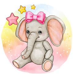 Cute watercolor baby girl elephant sitting vector