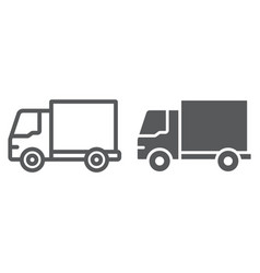 delivery truck line and glyph icon traffic and vector image