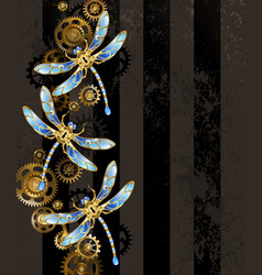 Design with mechanical dragonflies vector