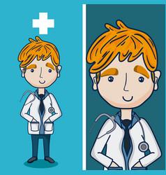doctor funny cartoon vector image