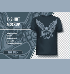 eagle with anchor in claws t-shirt template vector image