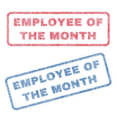 Employee of the month textile stamps vector